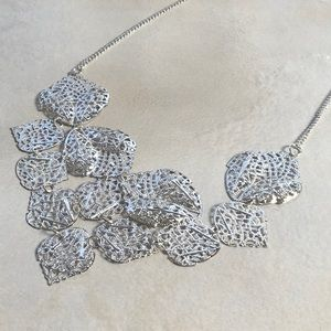Statement Necklace Silver Tone Dainty Leaf Leaves